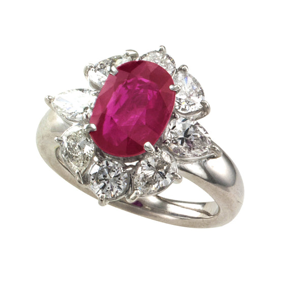 2.23 Carats Burma Ruby and Diamond Estate Ring