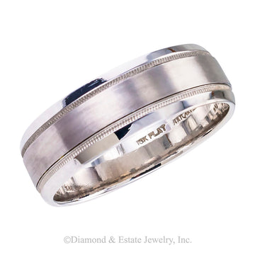 Gentleman's 7 mm white gold and platinum wedding band size 11 1/2.