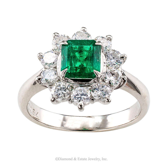 Emerald Diamond Halo Platinum Ring - Jacob's Diamond and Estate Jewelry