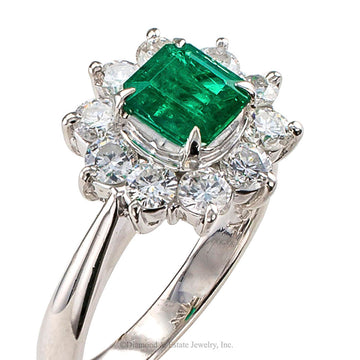 Emerald Diamond Halo Platinum Ring