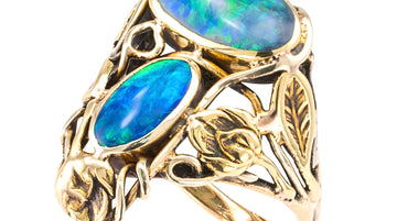 Arts & Crafts Black Opal Yellow Gold Ring