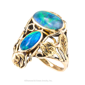 Arts & Crafts black opal and yellow gold ring circa 1900.