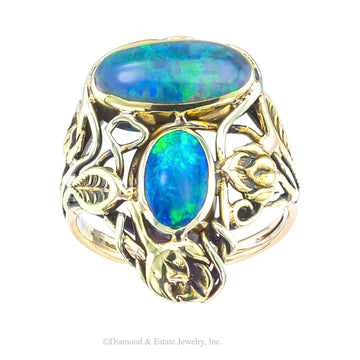 Arts & Crafts Black Opal Yellow Gold Ring - Jacob's Diamond and Estate Jewelry