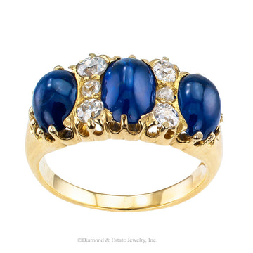 Victorian Three Stone Cabochon Sapphire Diamond Gold Ring - Jacob's Diamond and Estate Jewelry