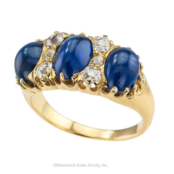 Victorian Three Stone Cabochon Sapphire Diamond Gold Ring