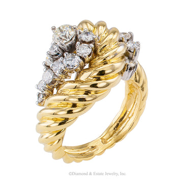 Diamond Gold Cluster Ring