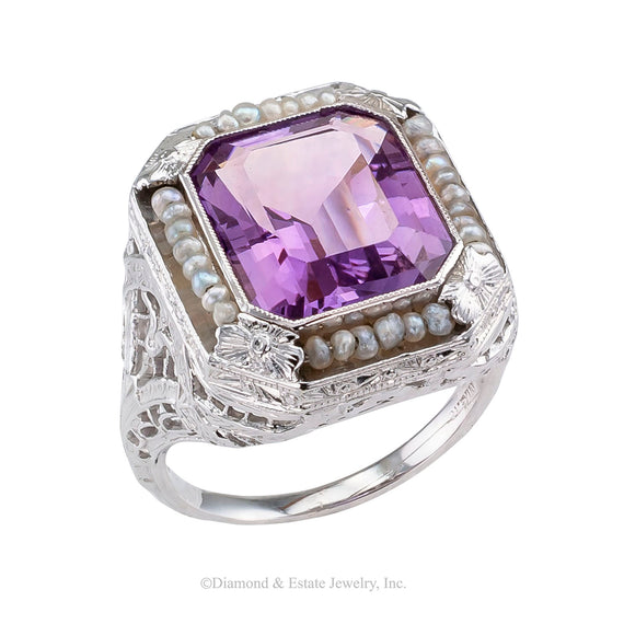Art Deco Amethyst Seed Pearl White Gold Filigree Ring - Jacob's Diamond and Estate Jewelry