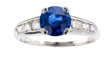 1950s Sapphire Diamond Platinum Engagement Ring