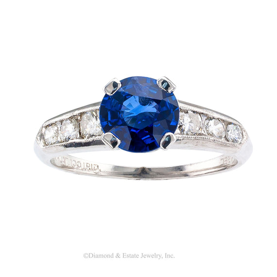 1950s Sapphire Diamond Platinum Engagement Ring - Jacob's Diamond and Estate Jewelry