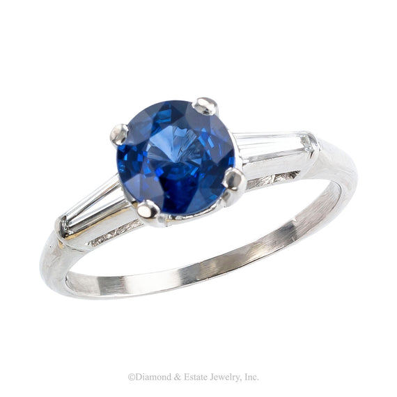 Sapphire Diamond Platinum Engagement Ring - Jacob's Diamond and Estate Jewelry