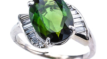 Green Tourmaline Diamond White Gold Cocktail Ring