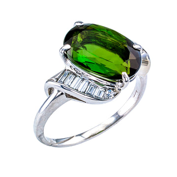 Green Tourmaline Diamond White Gold Cocktail Ring - Jacob's Diamond and Estate Jewelry