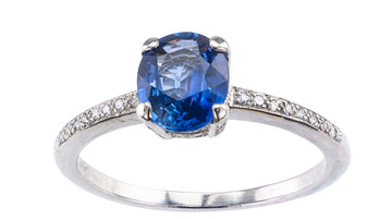 Estate Sapphire Diamond Platinum Solitaire Engagement Ring