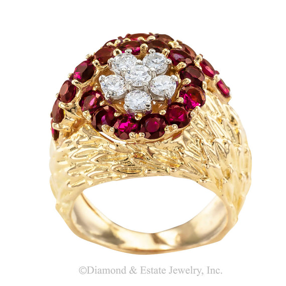Ruby Diamond Yellow Gold Cluster Ring - Jacob's Diamond and Estate Jewelry