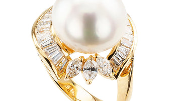 South Sea Pearl Diamond Yellow Gold Cocktail Ring