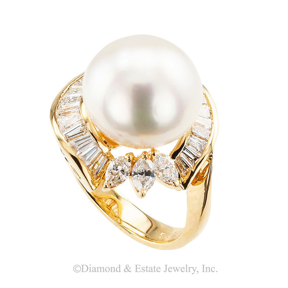 South Sea Pearl Diamond Yellow Gold Cocktail Ring - Jacob's Diamond and Estate Jewelry