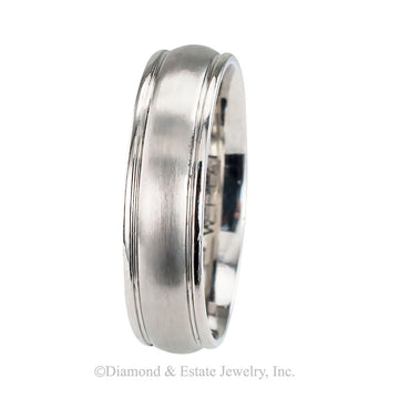 Gentleman's estate 6 mm platinum  wedding band size 10 ½ dating circa 2000.