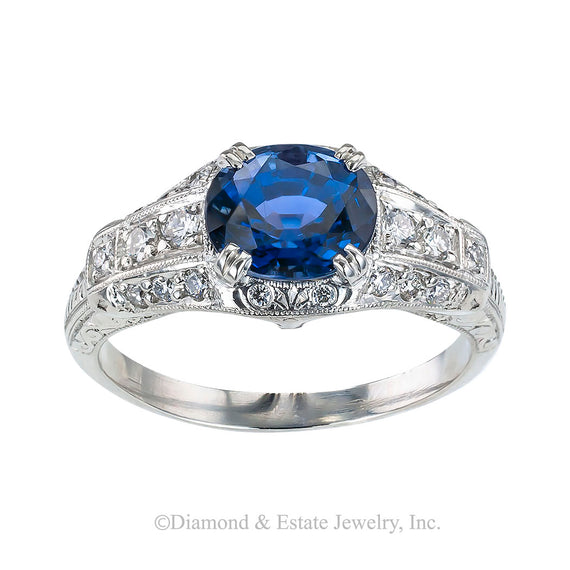 Estate blue sapphire diamond and platinum engagement ring.