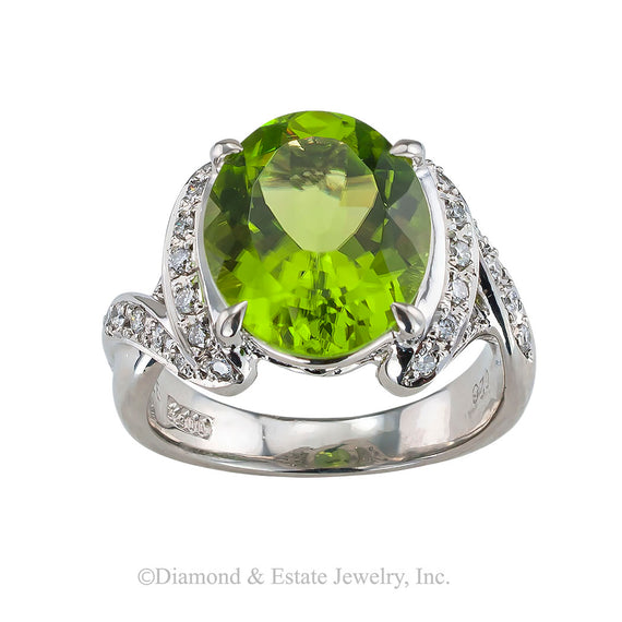 Estate peridot diamond and platinum cocktail ring circa 1990.