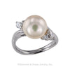 Akoya 9.2 mm Cultured Pearl Diamond Platinum Ring