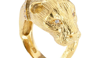 Diamond Yellow Gold Lioness Figural Ring