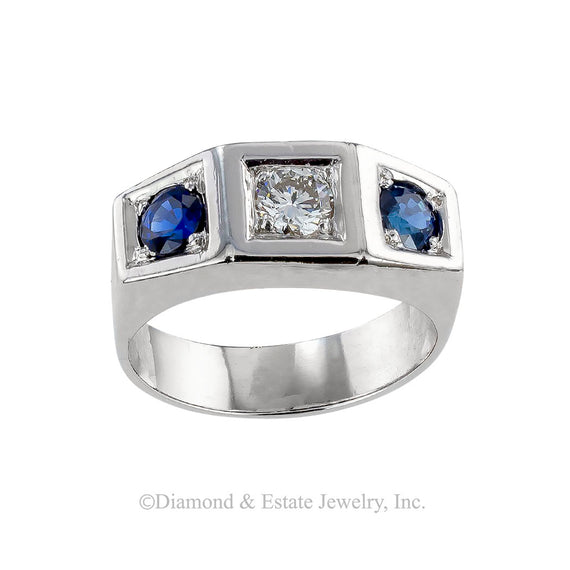 Art Deco diamond, sapphire, and platinum three stone-ring circa 1930.