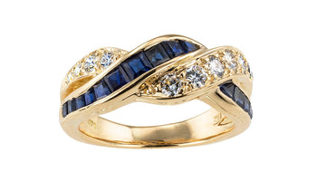 Oscar Heyman Sapphire Diamond Yellow Gold Ring Band