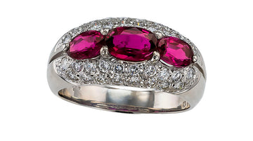 Ruby Diamond Platinum Three Stone Ring Band