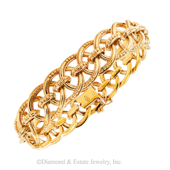 Estate medium width yellow gold link bracelet by Marks/Garrard & Co circa 1970.