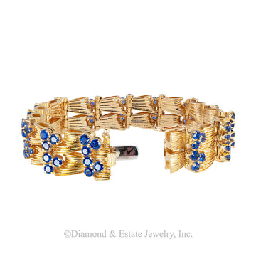 Tiffany & Co blue sapphire and yellow gold link bracelet circa 1970.