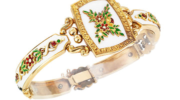 Victorian White Green Red Enamel Diamond Gold Bracelet