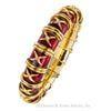 Tiffany Schlumberger Croisillon Red Enamel Yellow Gold Bangle Bracelet For Small Wrist