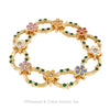 Multicolored Sapphire Emerald Diamond Yellow Gold Link Bracelet