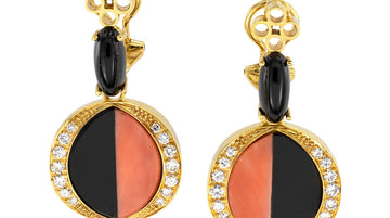 Coral Diamond Black Onyx Clip On Yellow Gold Drop Earrings