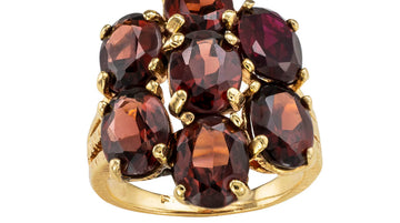 Garnet Yellow Gold Cluster Ring