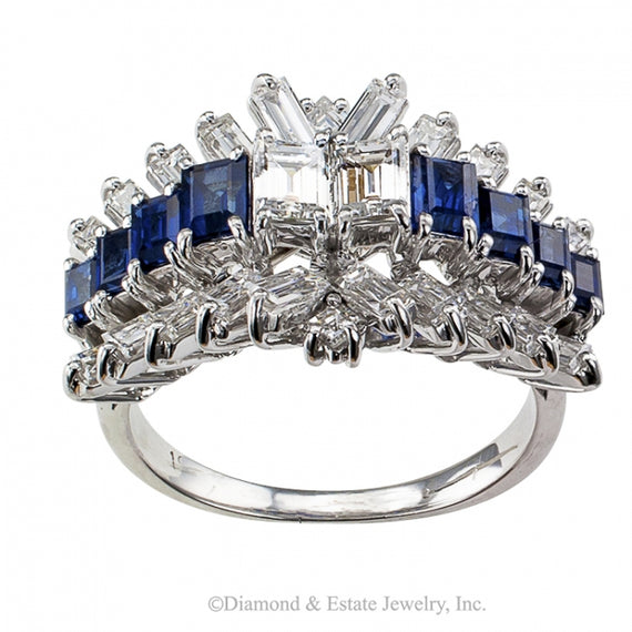 Emerald-cut Diamond and Sapphire Ring - Jacob's Diamond and Estate Jewelry