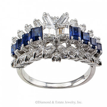 Emerald-cut Diamond and Sapphire Ring