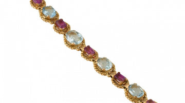 Estate Aquamarine and Pink Tourmaline Bracelet