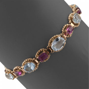 Estate Aquamarine and Pink Tourmaline Bracelet - Jacob's Diamond and Estate Jewelry
