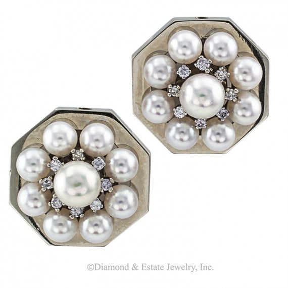 Mid-Century Cultured Pearl and Diamond Octagonal Earrings - Jacob's Diamond and Estate Jewelry