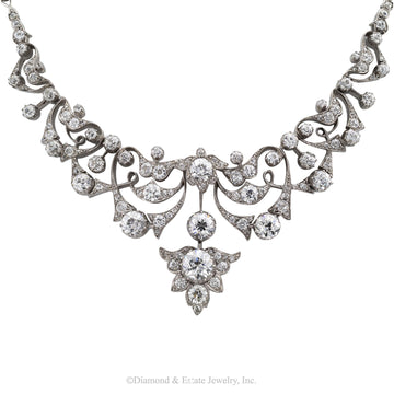 Victorian Diamond Silver Gold Necklace - Jacob's Diamond and Estate Jewelry