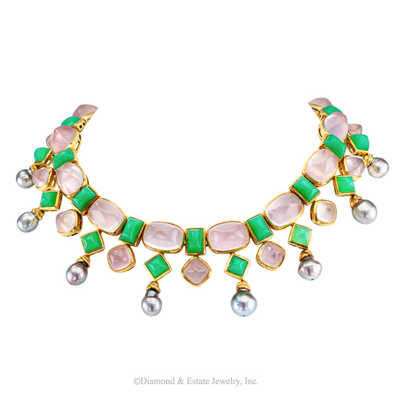 Tony Duquette Chrysoprase Rose Quartz Tahitian Pearl Gold Necklace - Jacob's Diamond and Estate Jewelry