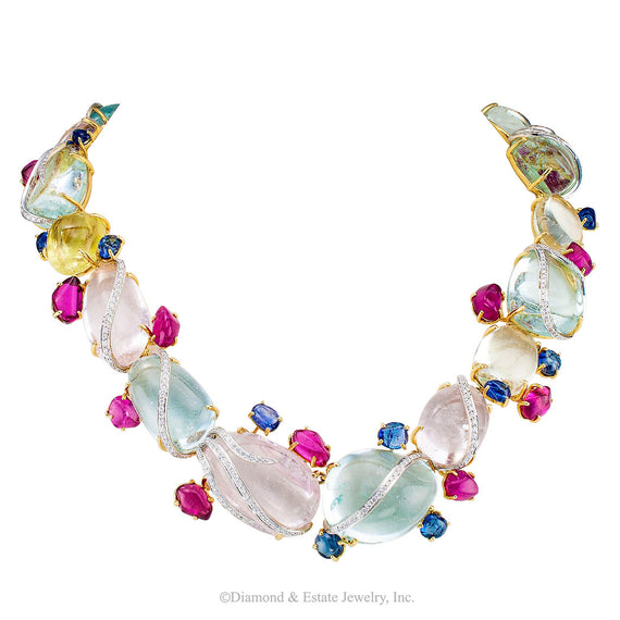 Aquamarine Beryl Diamond Sapphire Tourmaline Gold Necklace