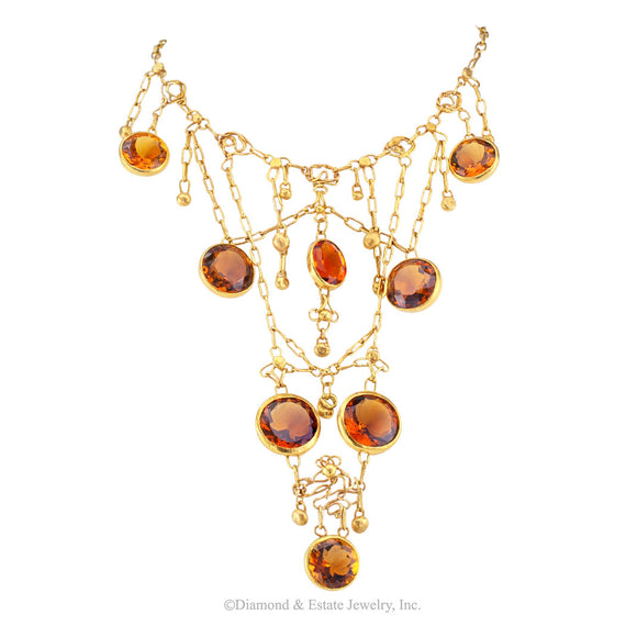 1960s Handmade Citrine Gold Bib Necklace