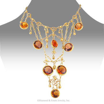 1960s Handmade Citrine Gold Bib Necklace - Jacob's Diamond and Estate Jewelry