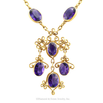 Art Nouveau Amethyst Yellow Gold Necklace - Jacob's Diamond and Estate Jewelry