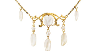 Art Nouveau Freshwater Pearl Yellow Gold Necklace