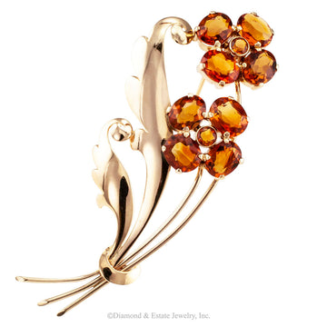 1940s Retro Citrine Flower Gold Brooch - Jacob's Diamond and Estate Jewelry