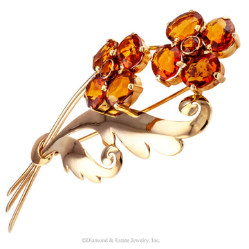 1940s Retro Citrine Flower Gold Brooch