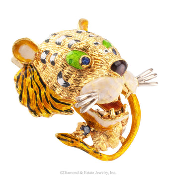 Enamel Tiger Sapphire Gold Brooch - Jacob's Diamond and Estate Jewelry